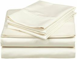Sheet Set King Size Ivory Solid 500 Thread Count 100% Cotton