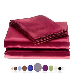 JUWENIN Silky Soft Solid Matte-Satin Bed Sheet Sets Shiny-Fr