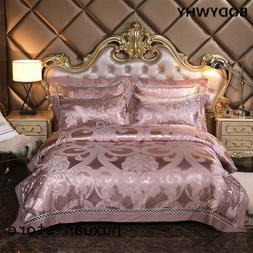 Silver Golden Queen King Size Bedding Sets Luxury Silk Satin