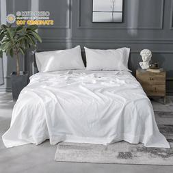 Simple&Opulence 4Pcs Linen Sheet Set Solid Color Flax Cotton