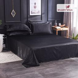 Slowdream Luxury Black 100% Satin Silk Flat <font><b>Sheet</