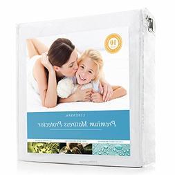 LINENSPA Premium Smooth Fabric Mattress Protector - 100% Wat