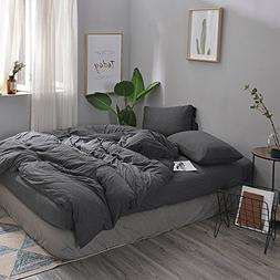 DOUH Solid Pattern Duvet Cover Jersey Knit Cotton Soft Comfy