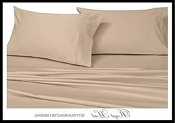 Royal Hotel's Solid Tan 550-Thread-Count 4pc King Bed Sheet