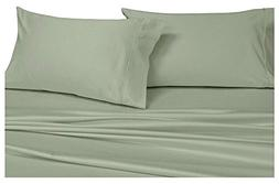 Split-King: Adjustable King Bed Sheets 5PC Solid Sage 100% C