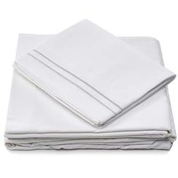 Cosy House Collection Split King Bed Sheets - White Luxury S