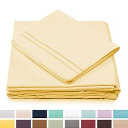 Split King Bed Sheets - Pastel Yellow Luxury Sheet Set - Dee