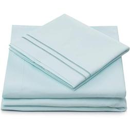 Split King Bed Sheets - Baby Blue Luxury Sheet Set - Deep Po