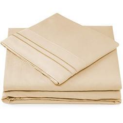 Split King Bed Sheets - Cream Luxury Sheet Set - Deep Pocket