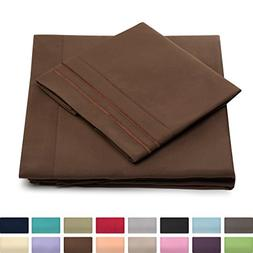 Split King Bed Sheets - Chocolate Luxury Sheet Set - Deep Po