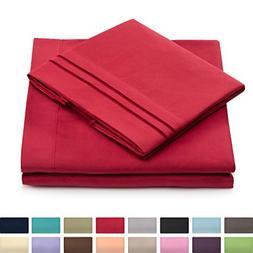 Split King Bed Sheets - Burgundy Luxury Sheet Set - Deep Poc