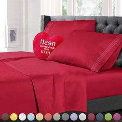 Split King Size Bed Sheets Set Hot Pink, Highest Quality Bed
