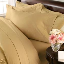 Split-King: Adjustable King Bed Sheets Solid Gold Wrinkle-Fr