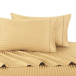 Stripe Gold Split-King: Adjustable King Bed Size Sheets, 5PC
