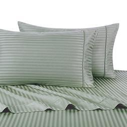 Stripe Sage Split-King: Adjustable King Bed Size Sheets, 5PC
