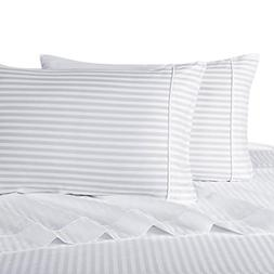 Stripe White King Size Sheets, 4PC Bed Sheet Set, 100% Cotto