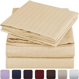 Mellanni Striped Bed Sheet Set - HIGHEST QUALITY Brushed Mic
