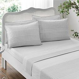 Brielle Stripes 100% Cotton Printed Sheet Set, Cal-King, 6 P