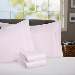 Sweet Home Collection Supreme 1800 Series 4pc Bed Sheet Set Egyptian Quality Deep Pocket King White My Sweet Home MSH-1800-K-WHT