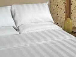 T250 Import White Stripe Flat Sheets
