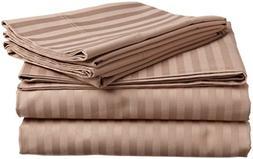 aashirainwear Taupe Stripe King Size Ultra Soft 4 PCs Bed Sh