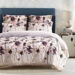 DuShow Tencel Lyocell Cotton Flower Pattern Duvet Cover Set