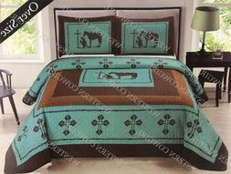 Texas Praying Cowboy Cross Western Quilt Bedspread Comforter