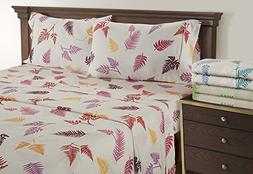 Linenwalas King Size Bed Sheets - Fern Pattern Bedding for T
