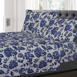 Tuscany Navy Floral Pattern 4-Piece 1800 Thread Count Sheet