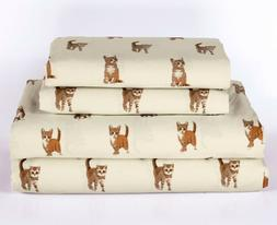 Twin, Full, Queen or King Cat Kitten Sheet Set Microfiber Pe