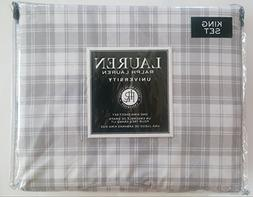 Ralph Lauren University Bedding King 4 Piece Cotton Sheet Se
