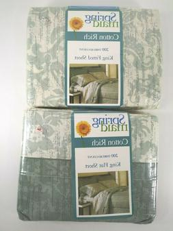 Vtg Springmaid King Sheets Fitted and Flat Julia Floral Sage
