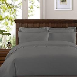 Echelon Home Washed Belgian Linen Sheet Set, King, Slate Gre