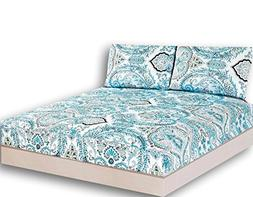 Tache White Blue Paisley Damask Fitted Sheet - Frozen Forest