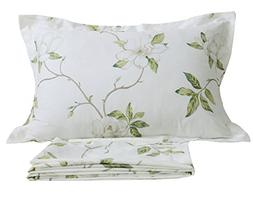 FADFAY White Floral Print Bed Sheet Sets 4-Piece California