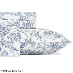 4 Piece Off White Ocean Blue Tropical Sheet Set Cal King Cal