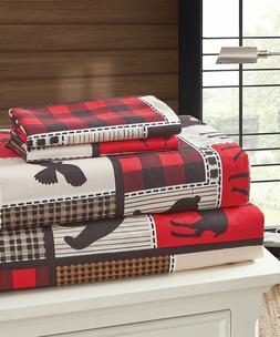 Wildlife Icons Lodge Life King Primitive Sheets set 2 pillow