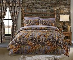 Regal Comfort The Woods Grey Camouflage King 4 Piece Premium
