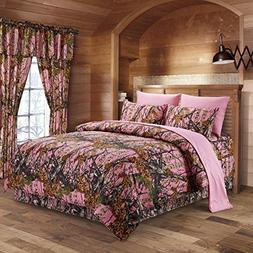 The Woods Pink Camouflage King 8pc Premium Luxury Comforter,