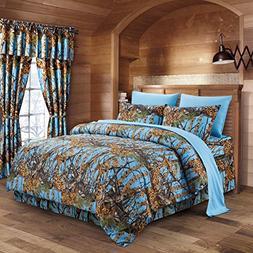 The Woods Powder Blue Camouflage King 8pc Premium Luxury Com