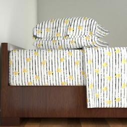 Yellow Hearts Black And White Girl 100% Cotton Sateen Sheet