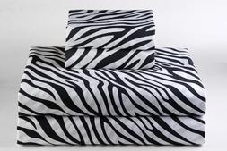 Zebra Print King Size Ultra Soft Natural 4 PCs Bed Sheet Set